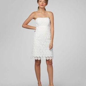 LILLY PULITZER BOWEN WHITE LACE STRAPLESS DRESS